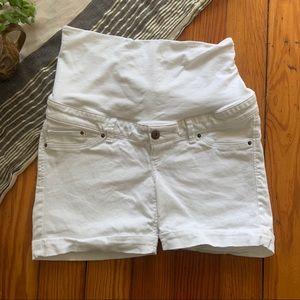 H&M Maternity Shorts in White Denim